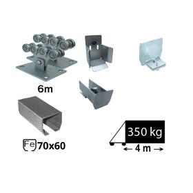 Kit Sistem autoportant cu sina de fier pentru deschidere de 4 metri, SAP-70x60-Fe