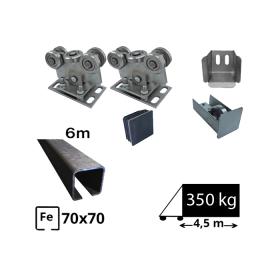 Kit Sistem autoportant cu sina de fier pentru deschidere de 4,5 metri, SAP-70x70-Fe