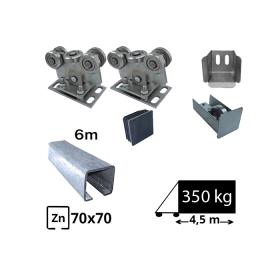 Kit Sistem autoportant cu sina zincata pentru deschidere de 4,5 metri, SAP-70x70-Zn
