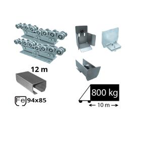 Kit Sistem autoportant cu sina de fier pentru deschidere de 10 metri, SAP-94x85-Fe-H