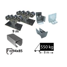 Kit Sistem autoportant cu sina din fier pentru deschidere de 8 metri, SAP-94x85-Fe